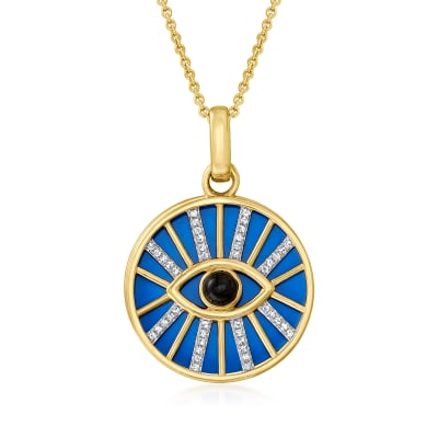 .13 ct. t.w. Diamond Evil Eye Pendant Necklace with Blue and Black Enamel in 18kt Gold Over Sterling