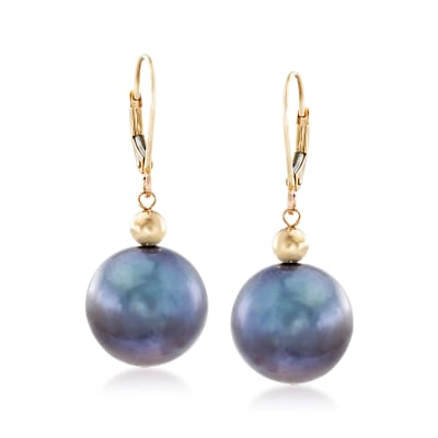 13-14mm Black Cultured Pearl Drop Earrings in 14kt Yellow Gold