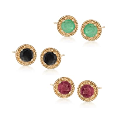 1.90 ct. t.w. Multi-Gemstone Jewelry Set: Three Pairs of Stud Earrings