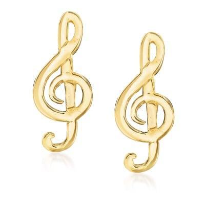 Italian 14kt Yellow Gold Musical Note Earrings