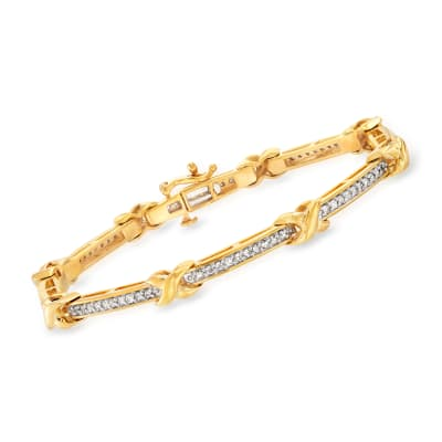 1.00 ct. t.w. Diamond X Bracelet in 18kt Gold Over Sterling
