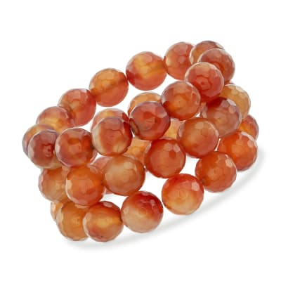 14mm Orange Agate Bead Set: Three Stretch Bracelets