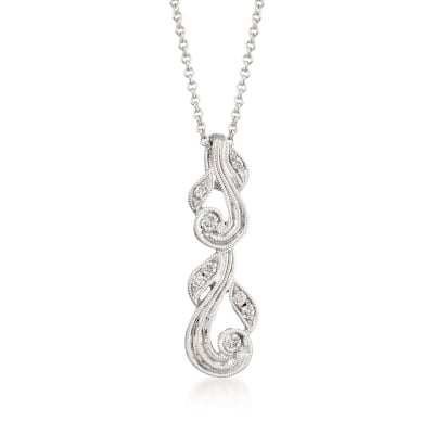 Diamond-Accented Swirl Pendant Necklace in 18kt White Gold