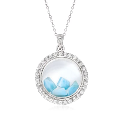 Larimar and 1.70 ct. t.w. White Topaz Circle Pendant Necklace in Sterling Silver