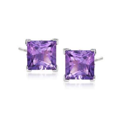 3.50 ct. t.w. Princess-Cut Amethyst Stud Earrings in Sterling Silver