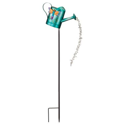 Regal Watering can Dragonfly Solar Garden Stake