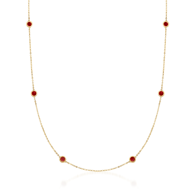 Italian Red Enamel Station Necklace in 14kt Yellow Gold