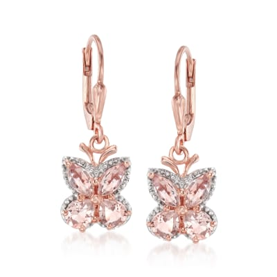 1.70 ct. t.w. Morganite Butterfly Drop Earrings in 18kt Rose Gold Over Sterling