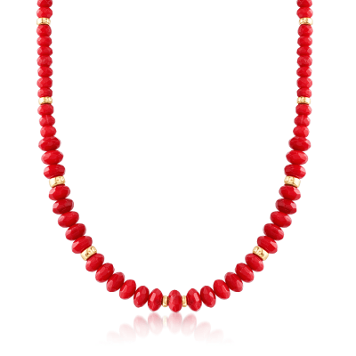 Graduated Red Coral Bead Necklace with 14kt Yellow Gold