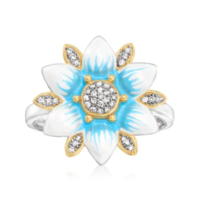 .10 ct. t.w. Diamond Flower Ring with Blue and White Enamel in Two-Tone Sterling Silver