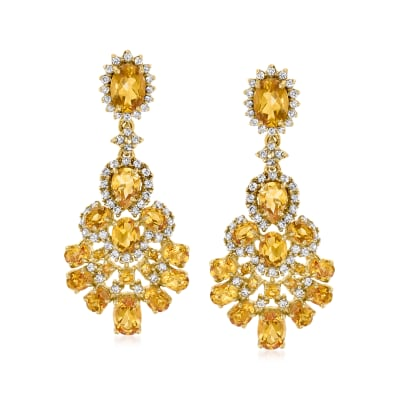 7.30 ct. t.w. Citrine and 1.70 ct. t.w. White Zircon Drop Earrings in 18kt Gold Over Sterling