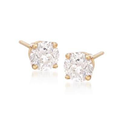 3.00 ct. t.w. CZ Stud Earrings in 18kt Yellow Gold