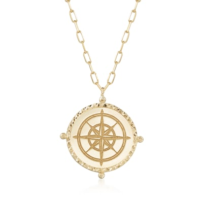 14kt Yellow Gold North Star Medallion Necklace with Paper Clip Link Chain