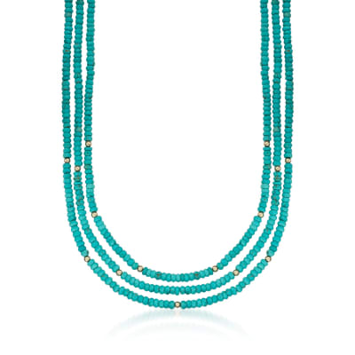 Turquoise Bead Three-Strand Necklace with 14kt Yellow Gold