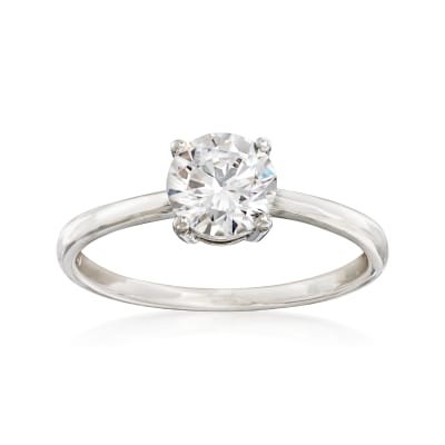 1.00 Carat CZ Solitaire Ring in 14kt White Gold
