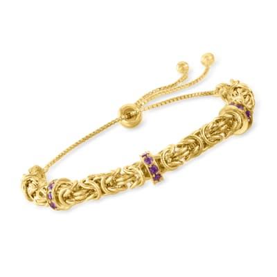 .60 ct. t.w. Amethyst Byzantine Bolo Bracelet in 18kt Gold Over Sterling