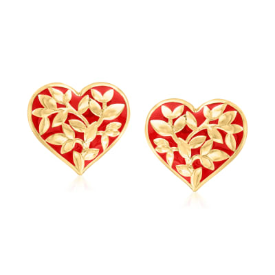 18kt Gold Over Sterling and Red Enamel Heart Leaf Vine Earrings