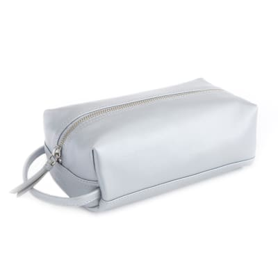 Royce Silver Leather Compact Toiletry Bag
