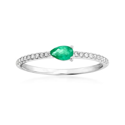 .20 Carat Emerald and .10 ct. t.w. Diamond Ring in 18kt White Gold