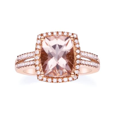 2.60 Carat Morganite and .25 ct. t.w. Diamond Ring in 14kt Rose Gold