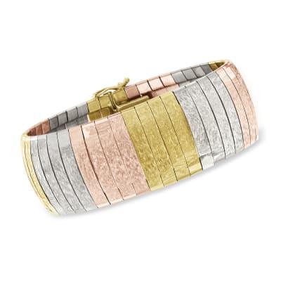 C. 1980 Vintage 18kt Tri-Colored Gold Bracelet