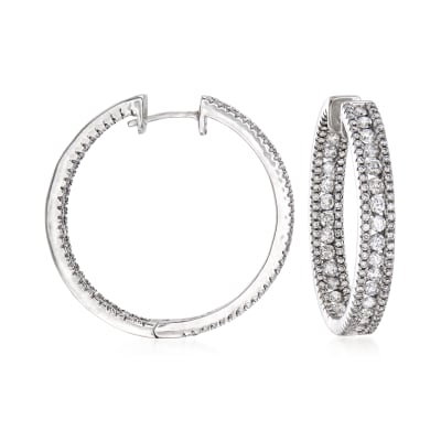 3.33 ct. t.w. Diamond Inside-Outside Hoop Earrings in 14kt White Gold