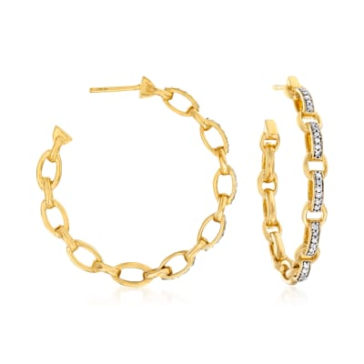 .50 ct. t.w. Diamond Paper Clip Link C-Hoop Earrings in 18kt Gold Over Sterling