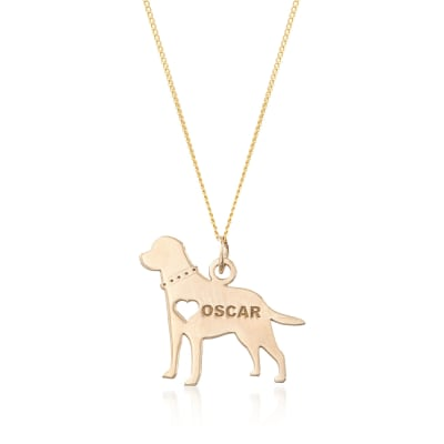 14kt Yellow Gold Over Sterling Silver Labrador Name Pendant Necklace