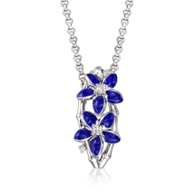 "Belle Etoile ""Leilani"" Blue Enamel and .17 ct. t.w. CZ Flower Pendant in Sterling Silver"