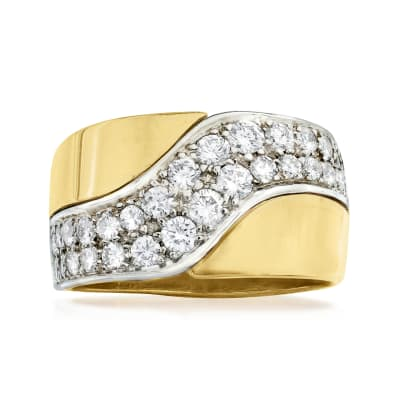 C. 1980 Vintage 1.10 ct. t.w. Diamond Wave Ring in 18kt Yellow Gold