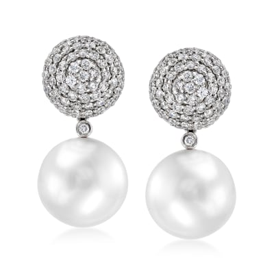 12-13mm Cultured South Sea Pearl and 2.30 ct. t.w. Diamond Ball Removable Drop Earrings in 18kt White Gold