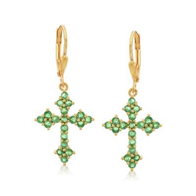 1.00 ct. t.w. Zambian Emerald Cross Drop Earrings in 18kt Gold Over Sterling