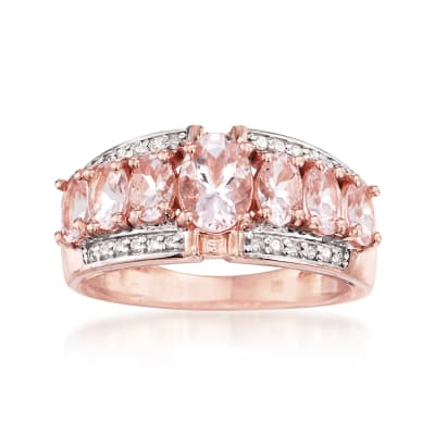 2.60 ct. t.w. Morganite and .14 ct. t.w. Diamond Ring in 14kt Rose Gold Over Sterling