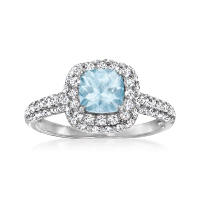 .80 Carat Aquamarine Ring with 1.60 ct. t.w. White Zircon in Sterling Silver