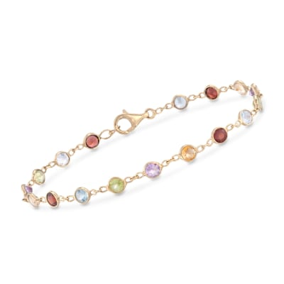 5.06 ct. t.w. Multi-Stone Bracelet in 14kt Gold Over Sterling
