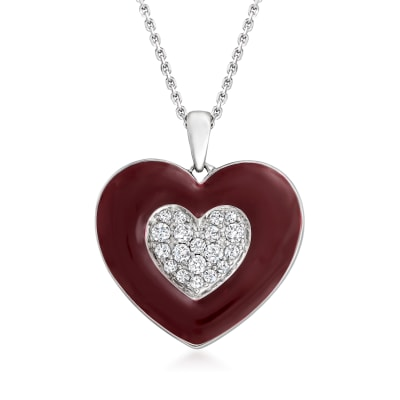 .33 ct. t.w. Diamond Heart Pendant Necklace with Dark Red Enamel in Sterling Silver