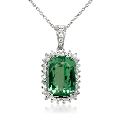 8.00 Carat Green Garnet Pendant Necklace with .51 ct. t.w. Diamonds in 14kt White Gold
