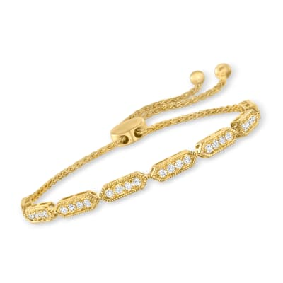 .75 ct. t.w. Diamond Bolo Bracelet in 18kt Gold Over Sterling