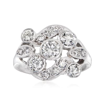 C. 1960 Vintage 1.35 ct. t.w. Diamond Cocktail Ring in 14kt White Gold