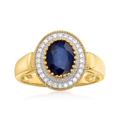 1.50 Carat Sapphire and .12 ct. t.w. Diamond Ring in 14kt Yellow Gold