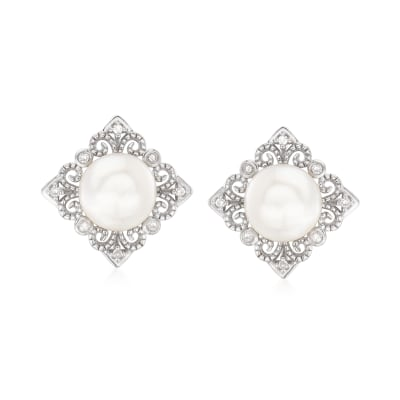 6.5-7mm Cultured Pearl Vintage-Style Earrings in Sterling Silver