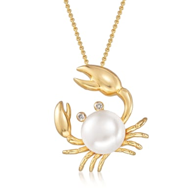 9mm Cultured Pearl Crab Pendant Necklace with Diamond Accents in 18kt Gold Over Sterling