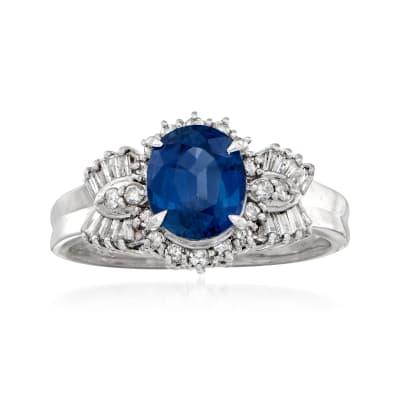 C. 1990 Vintage 1.50 Carat Sapphire and .38 ct. t.w. Diamond Ring in Platinum