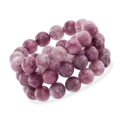 12mm Purple Lepidolite Bead Set: Three Stretch Bracelets
