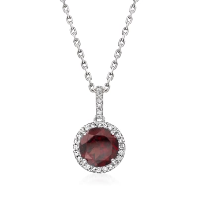 1.50 Carat Garnet Pendant Necklace with Diamond Accents in Sterling Silver