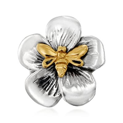 Sterling Silver and 14kt Yellow Gold Flower and Bee Ring