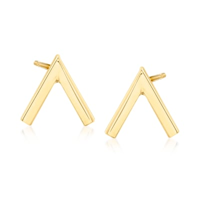 14kt Yellow Gold V Stud Earrings
