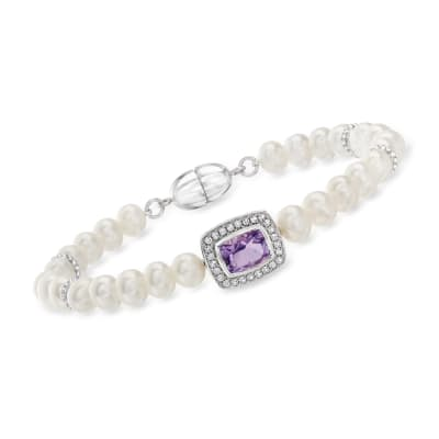 5.5-6mm Cultured Pearl, 1.10 Carat Amethyst and .20 ct. t.w. White Topaz Bracelet in Sterling Silver