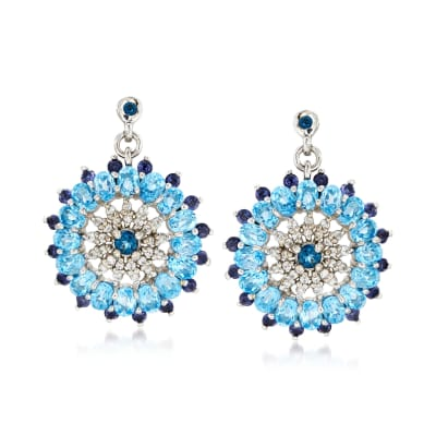 6.95 ct. t.w. Blue Topaz and .90 ct. t.w. Iolite Circle Drop Earrings with White Zircon in Sterling