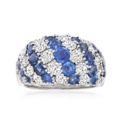 2.46 ct. t.w. Sapphire and 1.86 ct. t.w. Diamond Cluster Ring in 14kt White Gold